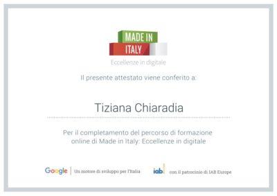Eccellenze in digitale - Certificato Tiziana Chiaradia