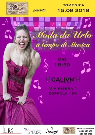 Locandina evento Moda da ulro a tempo di musica Galium Pordenone