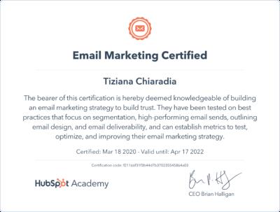 Certificazione E-mail Markteting Hubspot Tiziana Chiaradia