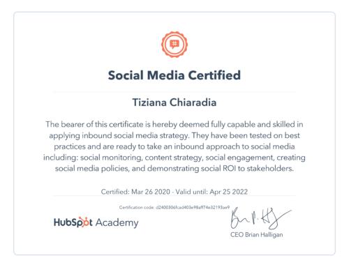 Certificazione Social Media Hubspot