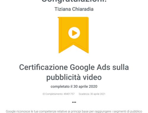 Certificazione Google Ads sulla pubblicità video