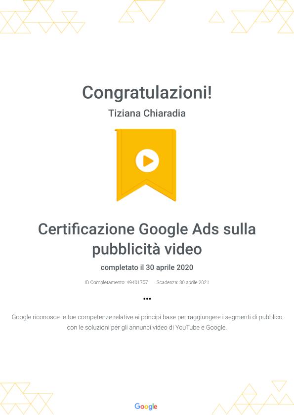 Certificazione Google Ads sulla pubblicità video _ Google