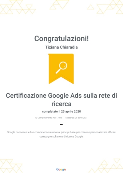 Certificazione Google Ads sulla rete di ricerca _ Google