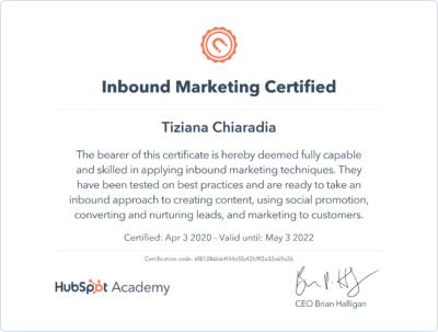 Inbound Marketing Certificazione Hubspot