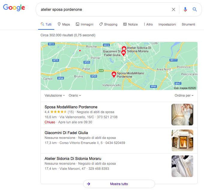 Local pack Google esempio